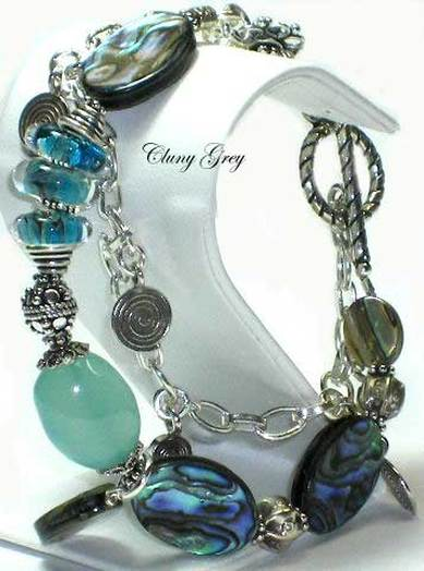 abalone bracelet with lampwork and chalcedony
