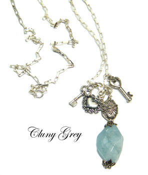 aquamarine necklace with charms