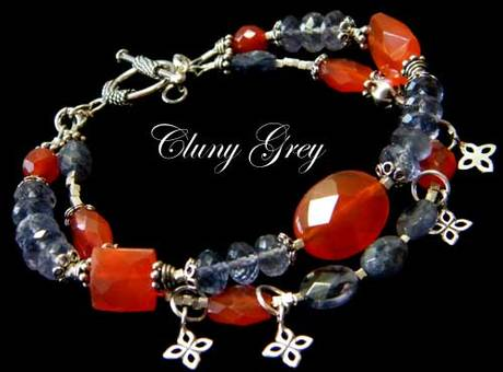 iolite bracelet with carnelian and sterling silver