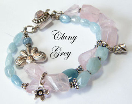 aquamarine bracelet with rose quartz