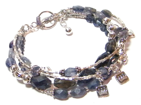 iolite bracelet with sterling silver charms
