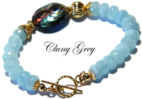 aquamarine bracelet with abalone