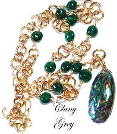 abalone necklace with gold-fill