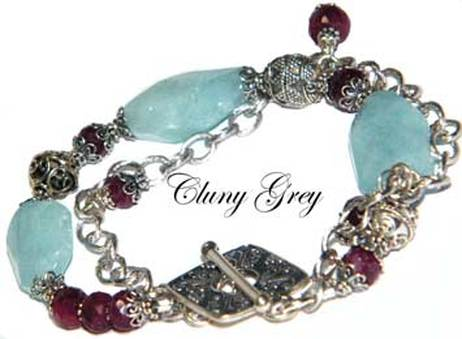 aquamarine bracelet with rubies